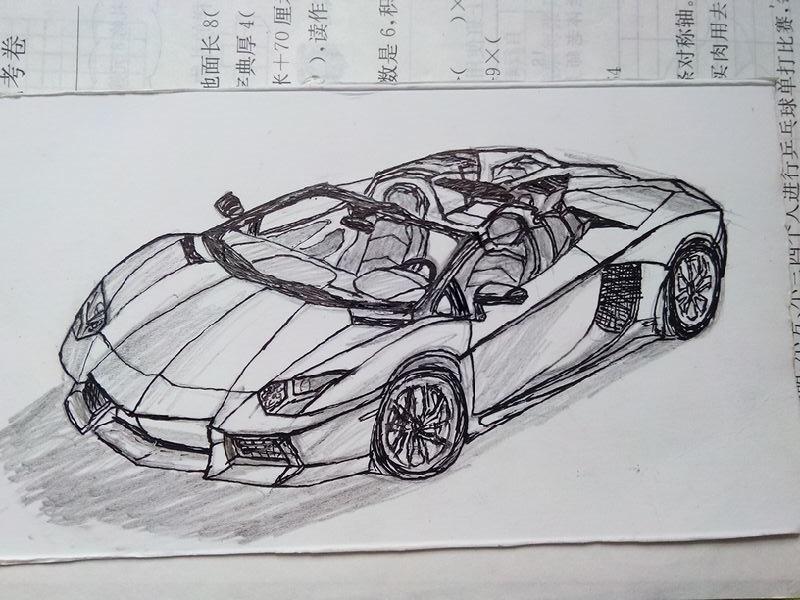 跑车素描结构图