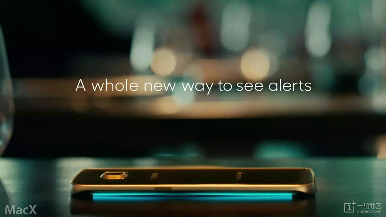 在第二短广告中三星介绍了 galaxy s6 edge 的 edge 灯光...