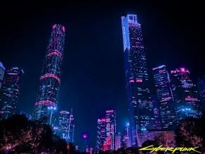 赛博朋克风格下的广州